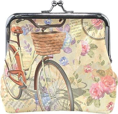 XiangHeFu Bolso monedero para mujer, bicicleta y arte, letra vintage, bolso de embrague de cuero: Amazon.es: Ropa y accesorios