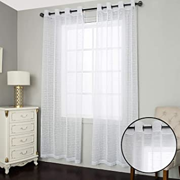 Amazon Com Roy Lei Faux Linen Sheer Fancy Curtains Look Semi Transparent Voile Grommet Curtains For Living Dining Room Drapes Nickel Grommet Window Treatments Panels Drapes Set Of 2 Panels White Line 38wx84l Furniture Decor