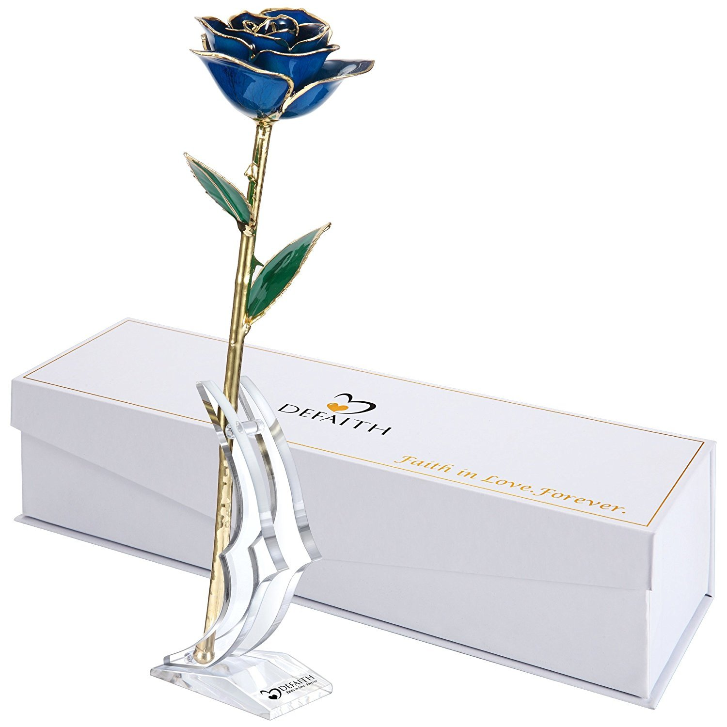 (I.blue) DEFAITH Blue 24K Gold Rose, Unique Anniversary Gifts for Mother Wife Girlfriend Her Women, Made from Real Rose Flower with Stand B014IZ42NI I.Blue