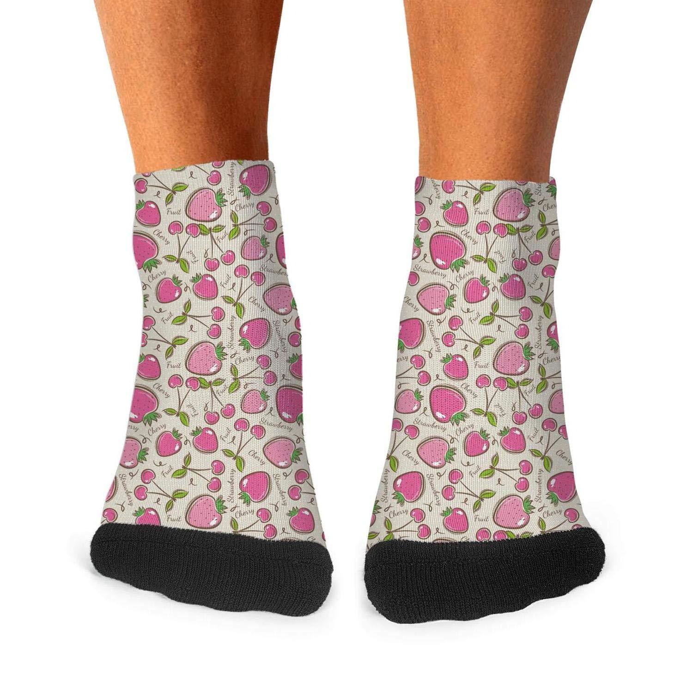 Floowyerion Mens Strawberry and Cherry Plants Fruit Novelty Sports Socks Crazy Funny Crew Tube Socks