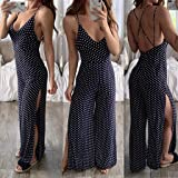 kemilove Women Casual Split V-Neck Jumpsuit Dot pointSpaghetti Strap Striped Wide Leg Long Pants Outfits Bodysuit