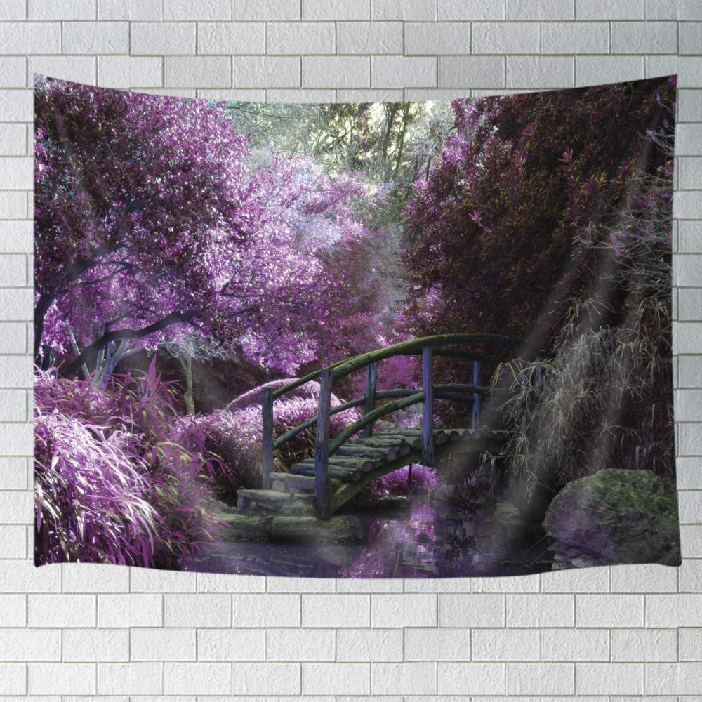 JAWO Nature Landscape Tapestry Blooming Purple Flowers, Romantic Bougainvillea Forest with Rustic Bridge Decor Wall Hanging Tapestry Blanket for Bedroom Living Room Dorm 60X40 Inches