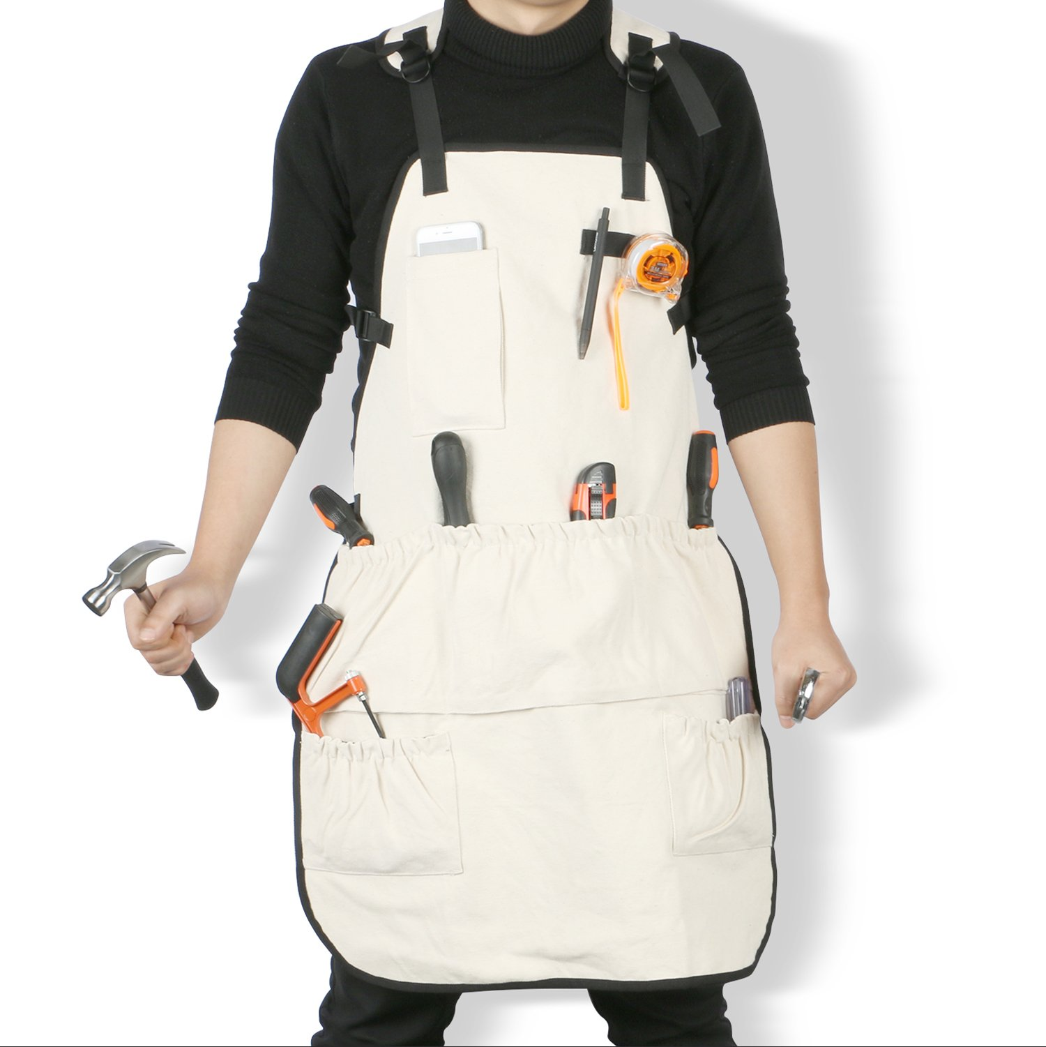 Jeezero Full Coverage Heavy-duty Pressure-free at Neck Carpentery Wood-working Bib Canvas Tool Apron with Pockets-XL