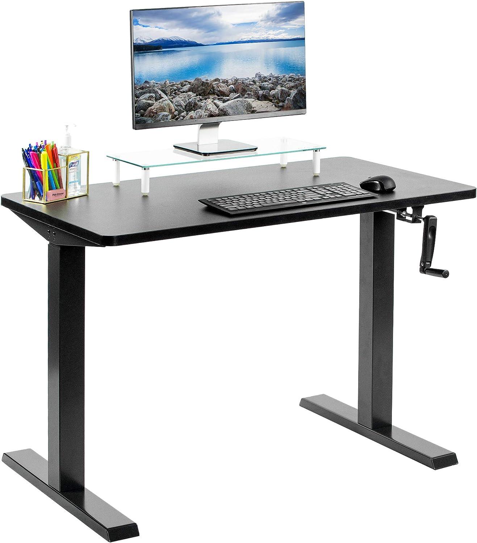 "VIVO Manual 43"" x 24"" Stand Up Desk, Black Solid Table Top, Black Frame, Height Adjustable Standing Workstation with Foldable Handle (DESK-KIT-MB4B)"