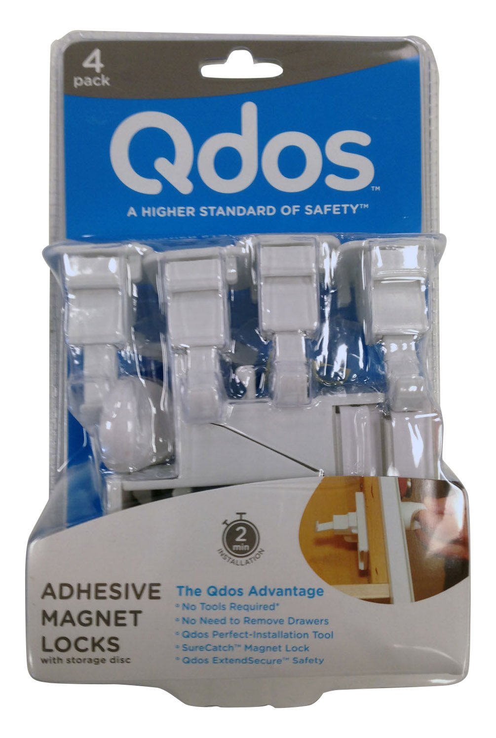 QDOS SureCatch Adhesive Magnetic Cabinet Lock | 4 Locks + 1 Key | White - Perfect Installation The First time - No Removing Drawers! No Drilling! No Tools Required! Only for Standard Framed Cabinets