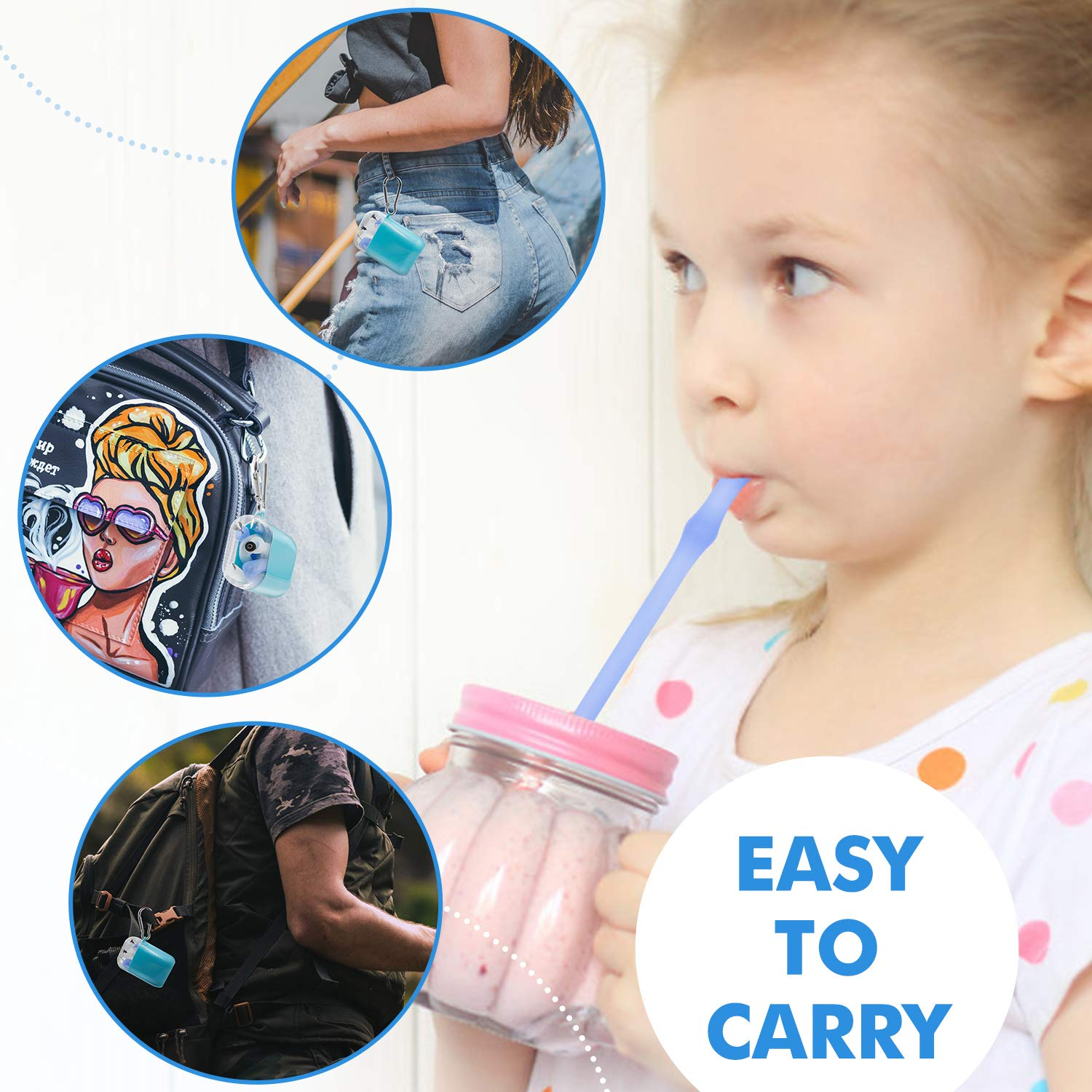 Reusable Collapsible Straws Folding Silicone Straws Food-Grade Drinking Straws - 2 Sets(4 Straws) (Blue)