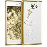 kwmobile Cover per Sony Xperia M2 - case protettiva per cellulare custodia smartphone back cover trasparente Design fata oro trasparente