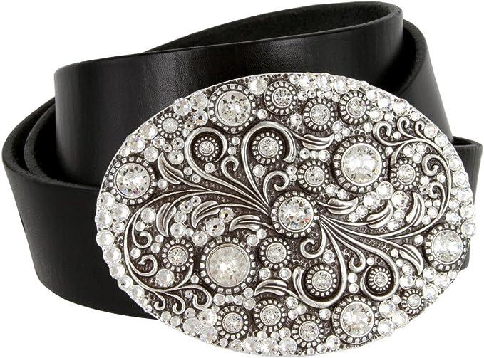 New Plus Size Silver Flower Engraved Buckle Wide Stretch Elastic Black Belt