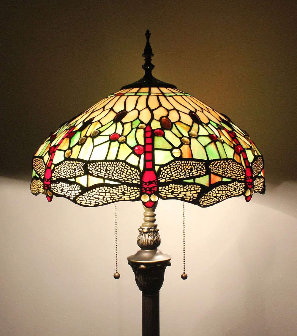 16 Zoll Libelle Bead Buntglas kreative Wohnzimmer Schlafzimmer Nachttisch klassische Luxus atmosphärische Stehlampe - hellgrün