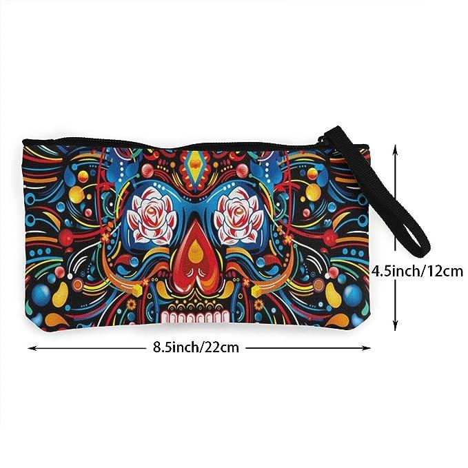 Monedero mexicano con diseño de calavera para mujer: Amazon ...