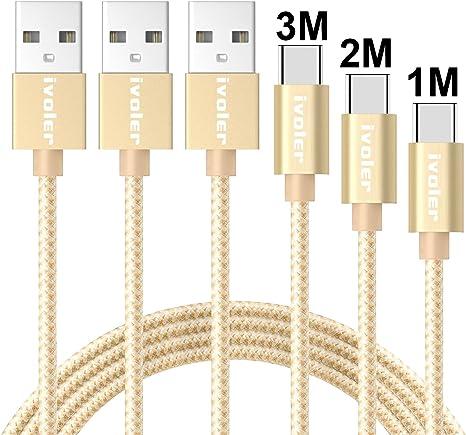 iVoler Câble USB C à USB A 3.0 (Lot de 3 1M+2M+3M) en