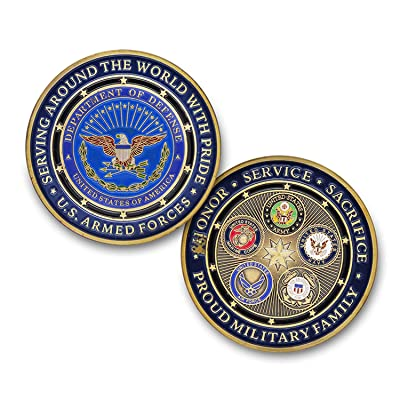 Strugglejewelry Proud Military Family US Armed Forces Challenge Coin: Toys & Games