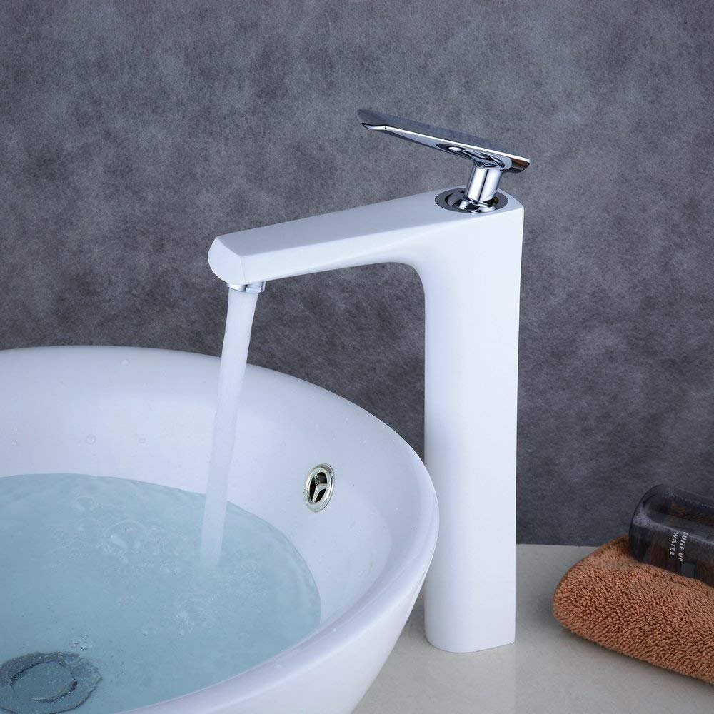 Brushed Nickel Finish Beelee BL9009NH Single Handle Waterfall Spout Tall Bathroom Tap