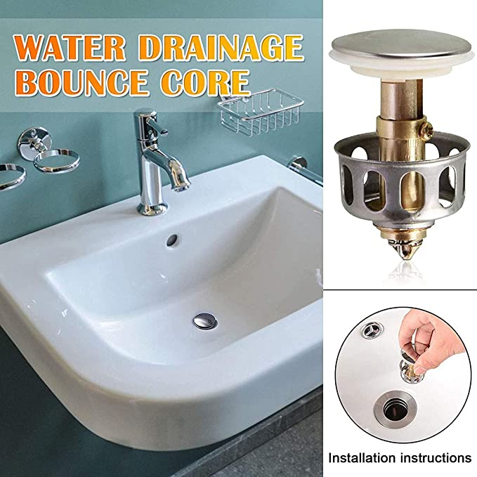 NEW Universal Wash Basin Bounce Drain Filter Pop Up Bathroom Sink Drain Plug UK