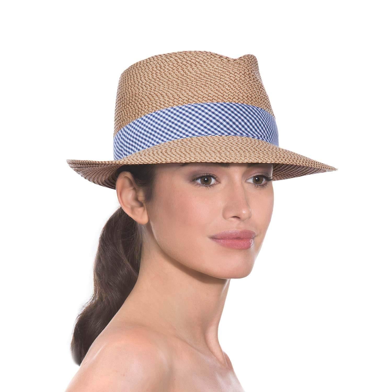 Eric Javits Luxury Women's Designer Headwear Hat - Squishee Classic - Peanut/Blue Check