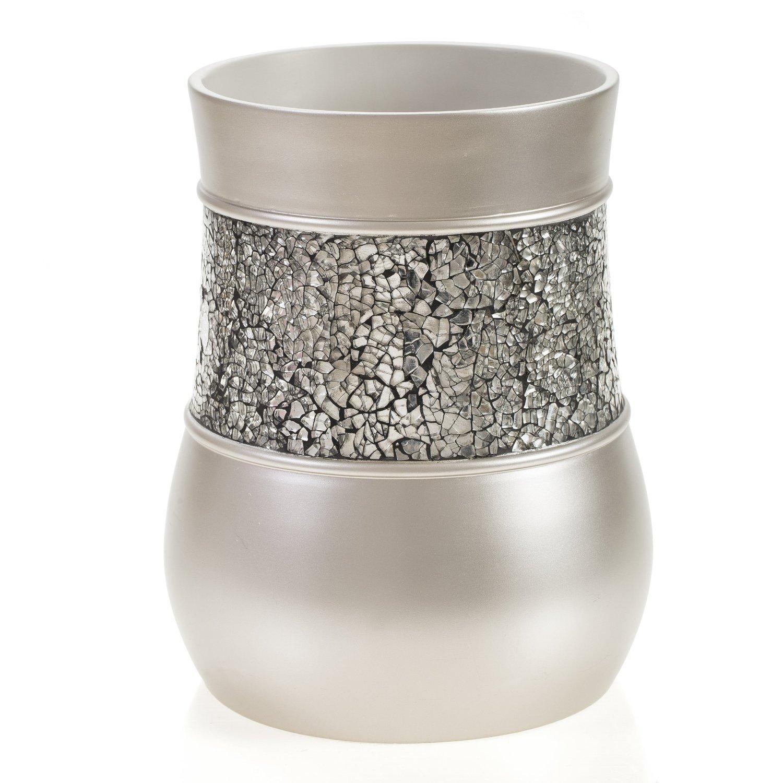Creative Scents Bathroom Trash Can (7.75''x 7.75''x 10')- Decorative Wastebasket- Durable Waste Paper Baskets- Space Friendly Bath Rubbish Dust Bin- for Elegant Shower Decor