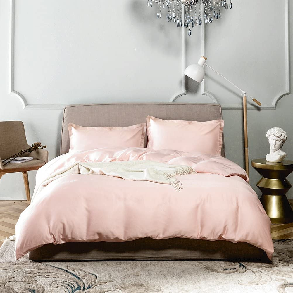 Eikei Solid Color Egyptian Cotton Duvet Cover Luxury Bedding Set High Thread Count Long Staple Sateen Weave Silky Soft Breathable Pima Quality Bed Linen (Queen, Pale Blush)
