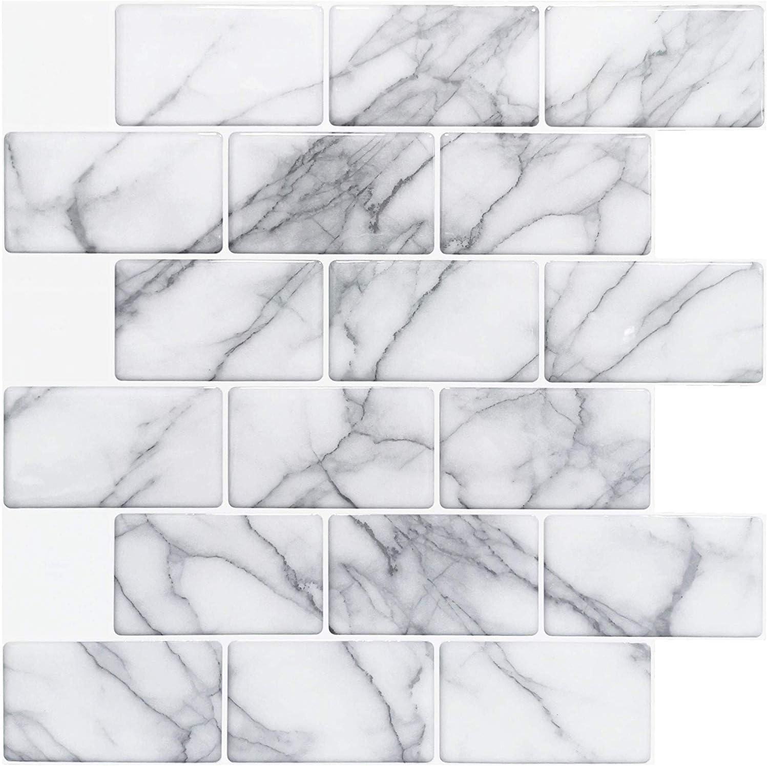 zum Abziehen und Aufkleben 30,5 x 30,5 cm Art3d Backsplash Fliesen grauer Marmor