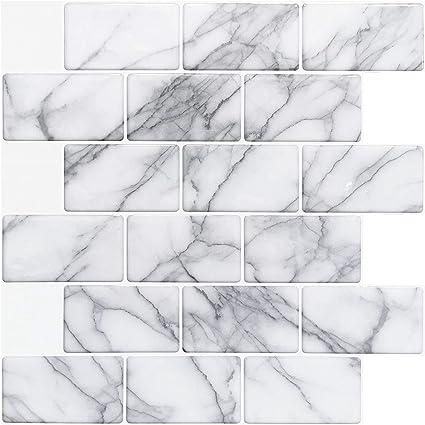 30,5 x 30,5 cm Art3d Backsplash Fliesen zum Abziehen und Aufkleben grauer Marmor