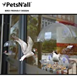 PetsN'all クリアバードフィーダー ( 窓付け2パーツ調整式小鳥の餌台 ) 【屋内からも鑑賞を楽しめる透明アクリル製の野鳥用餌入れ・巣箱】
