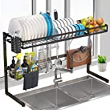 """Over Sink Dish Rack, G-TING 2Tier Dish Drying Rack (34""""), Large Dish Drainer Shelf with Utensil Holder, Over the Sink Kitchen Stainless Steel Storage Rack Space Saver Display Stand"""