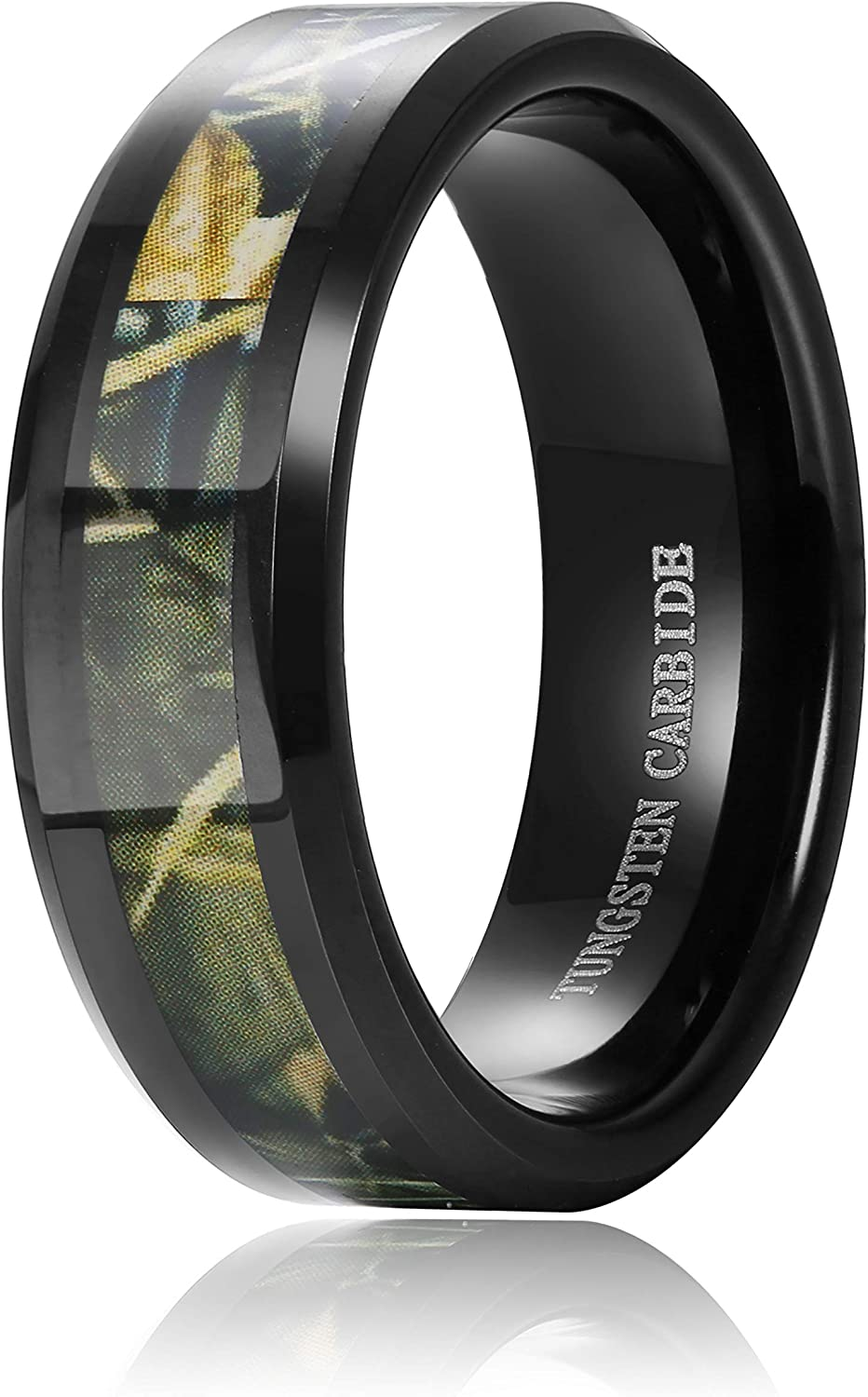 Hanpabum 8mm Mens Black Tungsten Carbide Ring Wedding Band Classic Camo Camouflage Comfort Fit Size 6-14