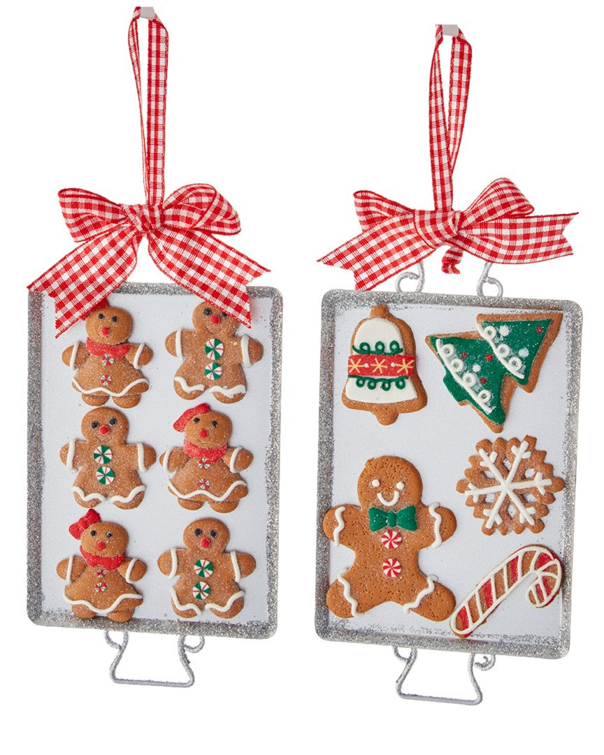 """Kurt Adler 6"""" Metal Cookie Tray with Gingerbread Ornament - 2A"""