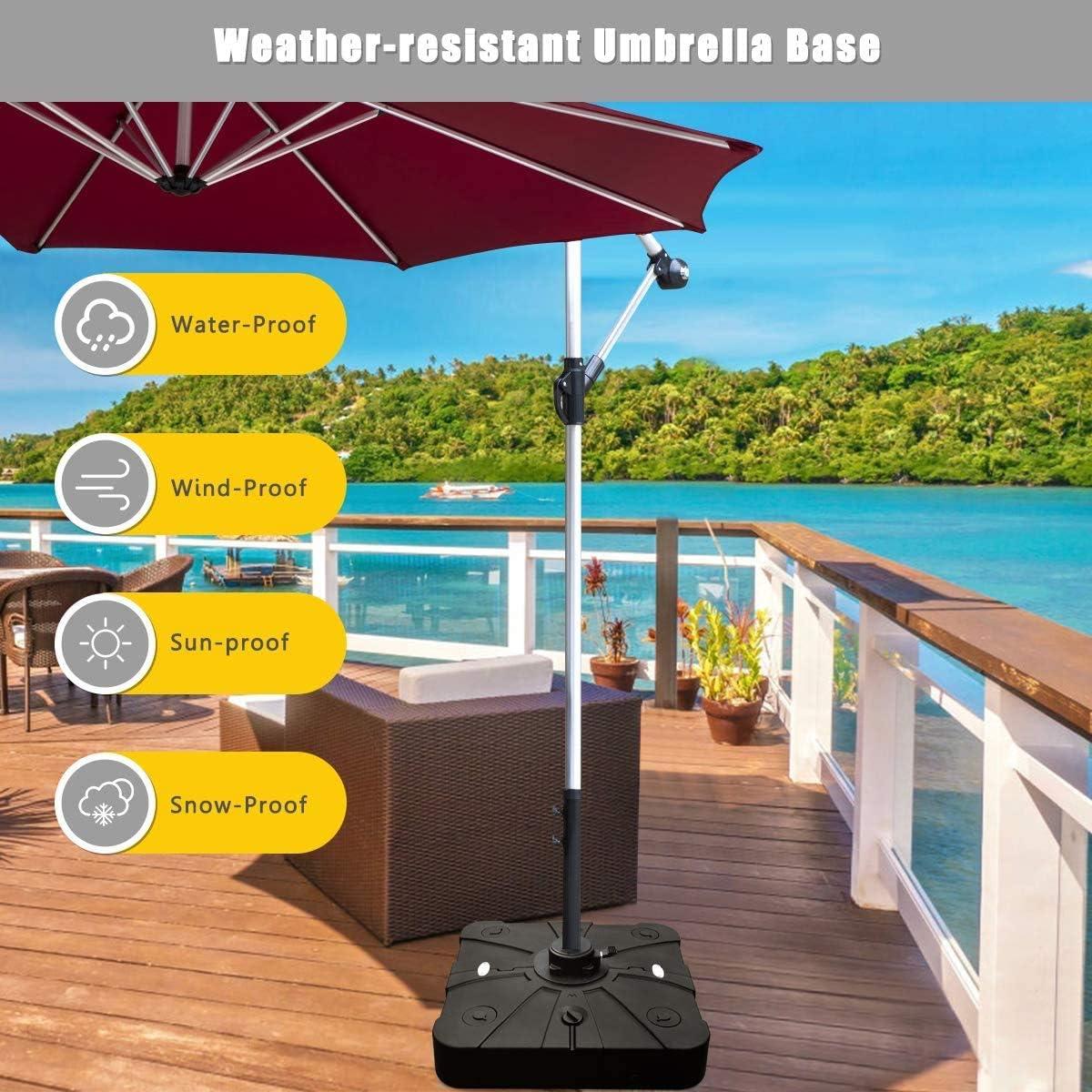 Giantex 260lbs Offset Patio Umbrella Base with Wheels, Water Sand Filled Square Umbrella Base Stand for Cantilever Umbrella, Cantilever Base Weight with Crossbar