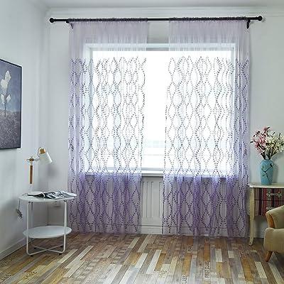 GOTTING Rotin Plum Blossom Feuille brodé Rideau fenêtre Tulle Voile draperie Gaze voilages Attention Bord couture Organdi Violet 2x2.7m