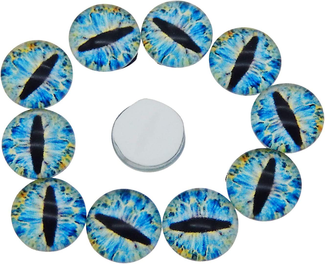 GraceAngie 30PCS Lizard Frog Dragon Eyes Round time gem Glass Cabochon Dome Cover Accessory 12MM
