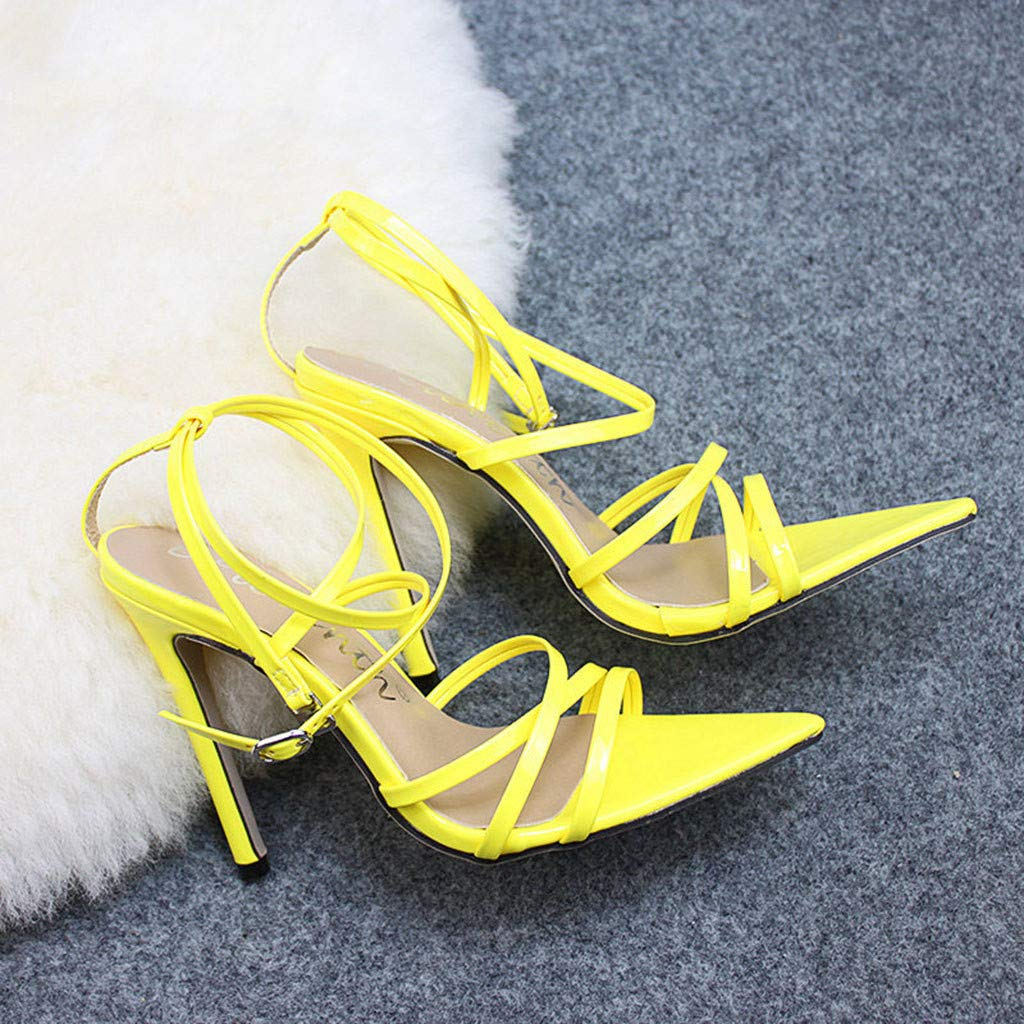 Sandals Women Fashion Solid Pointed Toe High Heel Thin Heels Sandals Party Wedding Shoes Pandaie Womens ..