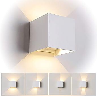 12W LED Apliques de Pared Interior/exterior, Lamparas de salon,Dormitorio, Jardín De Iluminacion con ángulo ajustable Diseño impermeable IP65 3000K Blanco Cálido (Blanco): Amazon.es: Iluminación