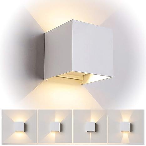 12W Led Applique murale chambre Moderne Exterieur/Interieur, Aluminium  luminaires Réglable Lampe Up and Down Design Anti-Eau Blanc Chaud pour  Chambre ...