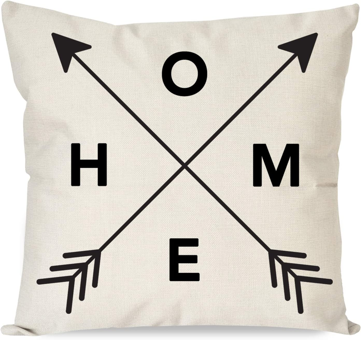 PANDICORN Farmhouse Arrow Pillow Covers 18x18 with Words Home for Farmhouse Décor, Rustic Black and Cream Throw Pillow Cases for Living Room Bedroom