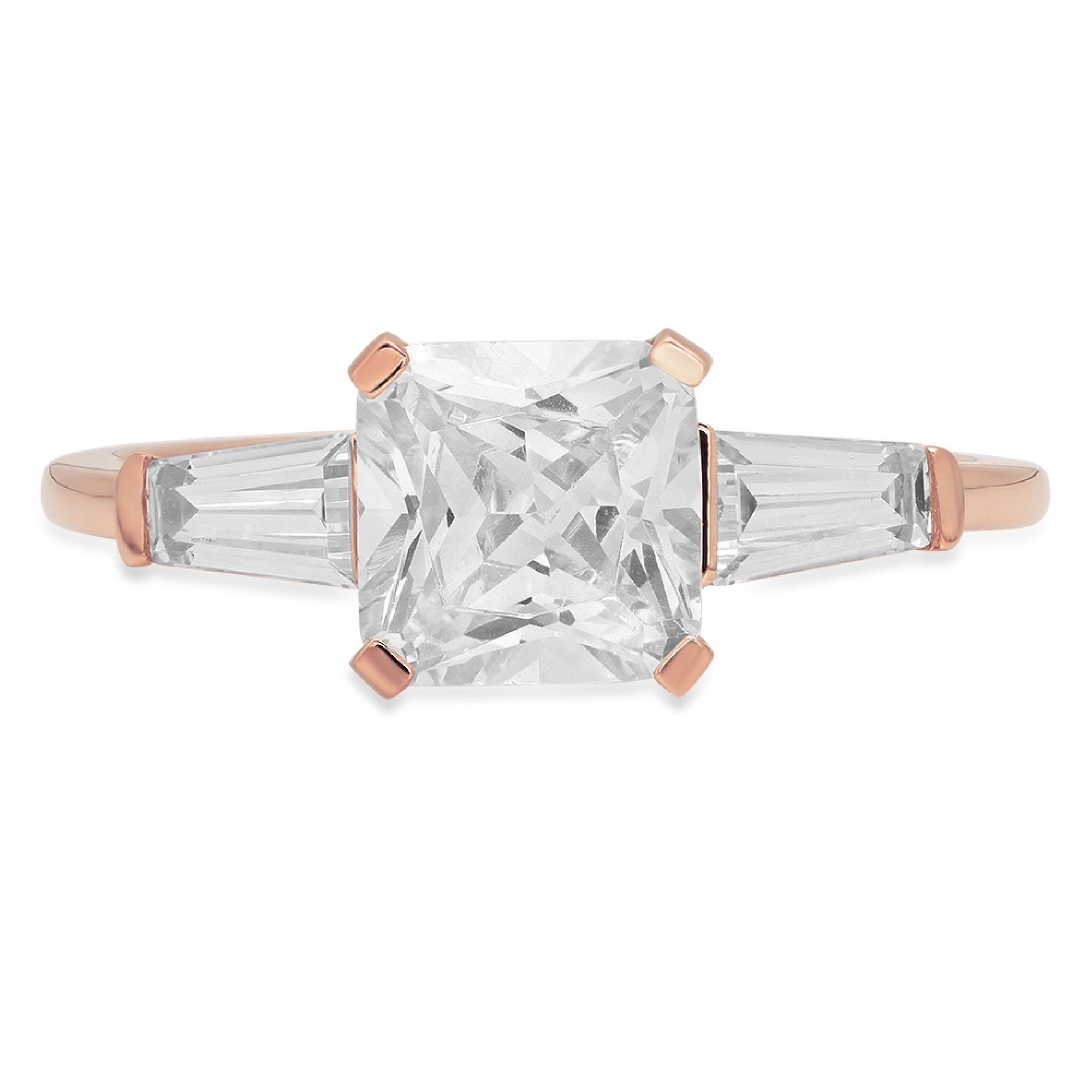 Brilliant Square Emerald Baguette Cut Solitaire 3-Stone Engagement Statement Bridal Wedding Anniversary Promise Petite Ring Solid 14K Rose Gold for Women 1.42ct, 10.75