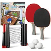 All-in-One Portable Table Tennis Set, Portable Carry Retractable Telescopic Table Top Tennis Net Rack with Table Tennis Racket Ping Pong for Indoor Outdoor Anywhere Entertainment Game Sports Gift