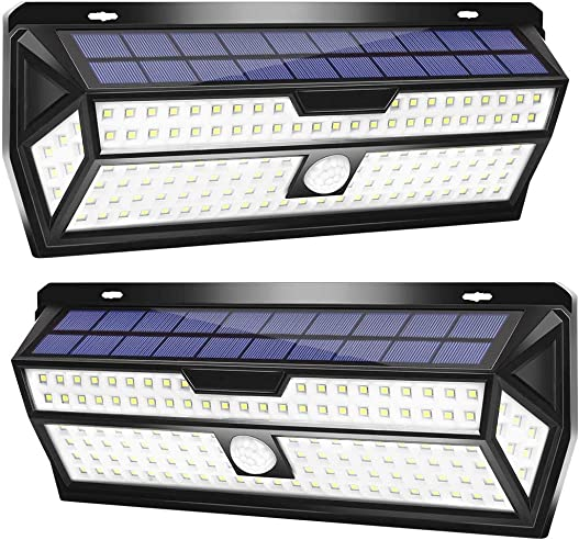 LE Solar Lights Outdoor, Motion Sensor Lights, 132 LED 270 Wide Angle, Waterproof Wireless Security Lights for Front Door, Garage, Yard and More Pack of 2