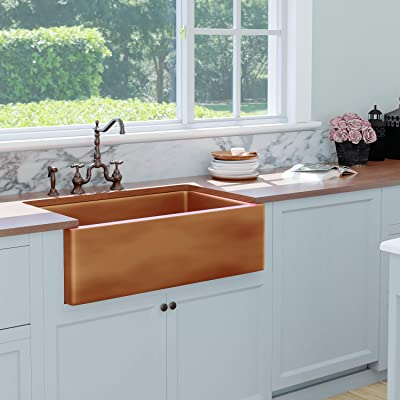 Buy Magnus Home Products 36 Kitchen Sink Dolton Smooth Copper Single Bowl Farmhouse Disposal Flange Stopper 36 L X 22 W 61 0 Lb Online In Indonesia B07jhyrdlf