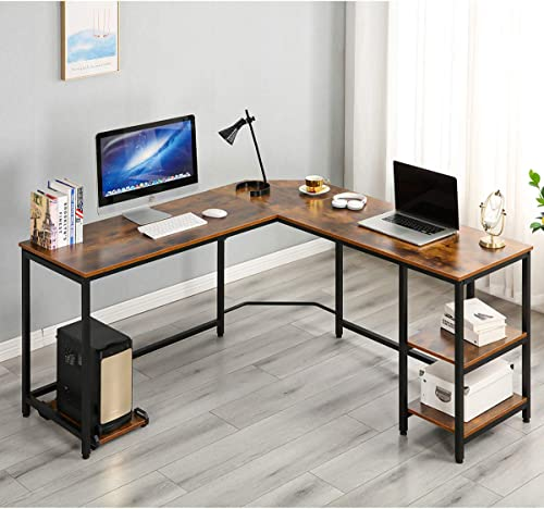 YOLENY L-Shaped Computer Desk,Space-Saving Corner Desk