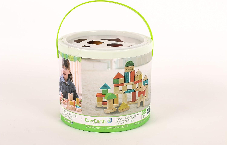 EverEarth Baby- und Kleinkindspiele EARTHConstruir und Aprender Mehrfarbig 80 Set Blocks