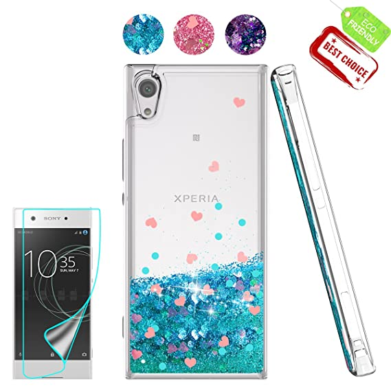 free shipping 1178b 63910 Sony Xperia XA1 Case, Sony Xperia XA1 Liquid Case with HD Screen Protector,  Atump Luxury Girls Glitter Bling Soft TPU Cover with Sparkly Shiny ...