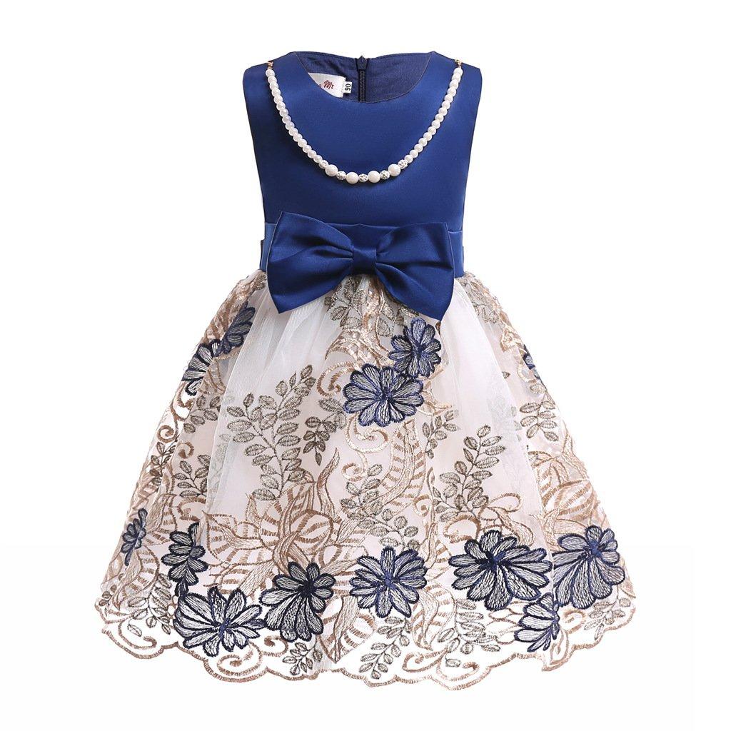 Mrsrui Little Girl Dress Kids Ruffles Lace Party Wedding Dresses Birthday Gift (120#, Blue)