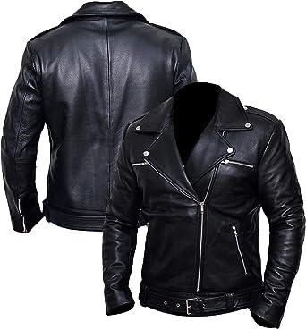 Men/'s Genuine Lambskin Leather Jacket Motorcycle Retro Biker Leather Jacket
