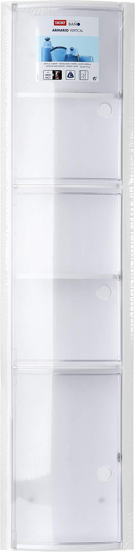 Tatay - Armario de Baño Vertical de Pared Hecho de Plástico Polipropileno. Fácil Fijación, Apto para Sistema Adhesivo Glue & Fix. Medidas (L x An x Al) 22 x 10 x 90,5