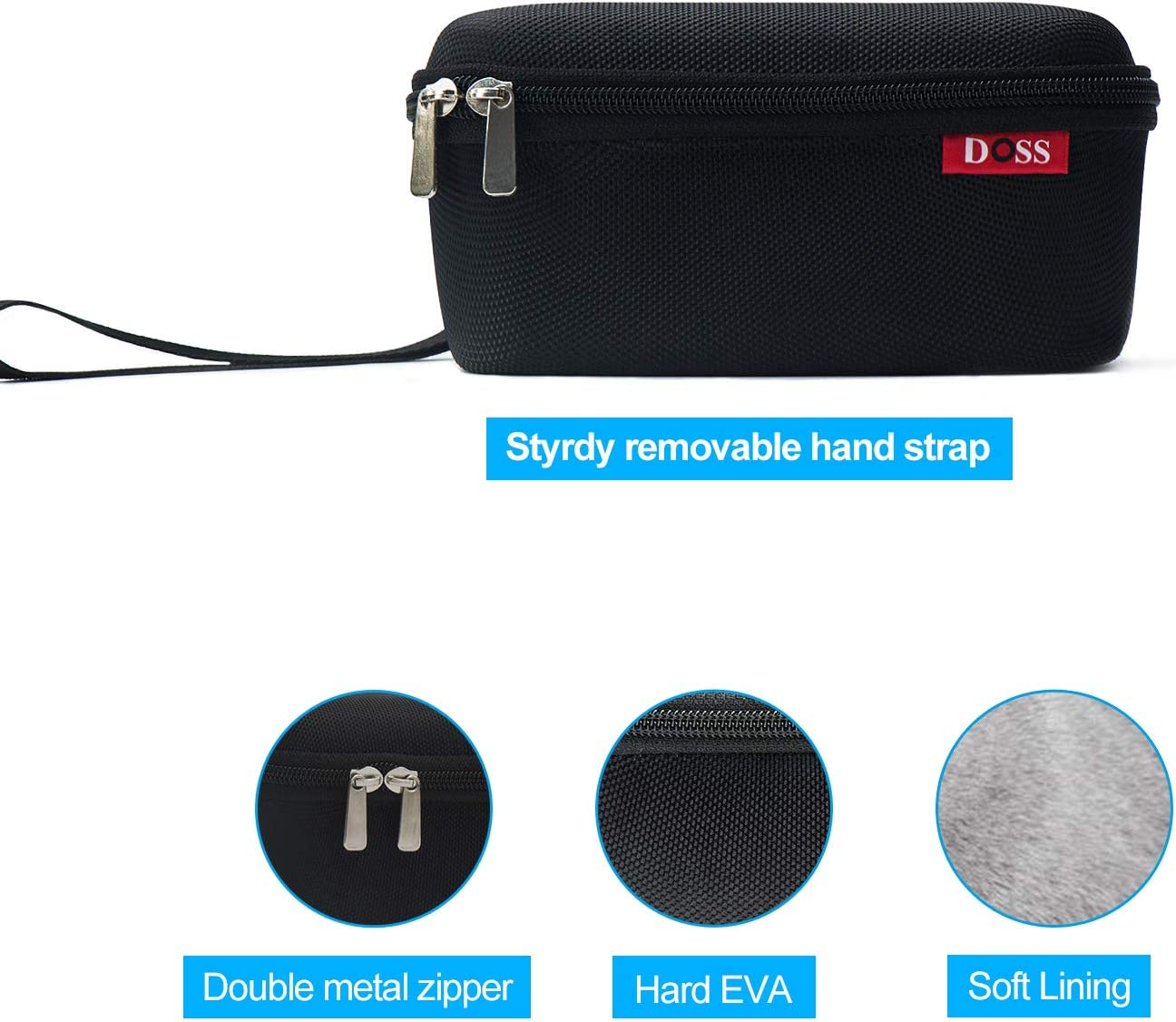 Black DOSS SoundBox Official Protective Hard EVA Travel Case