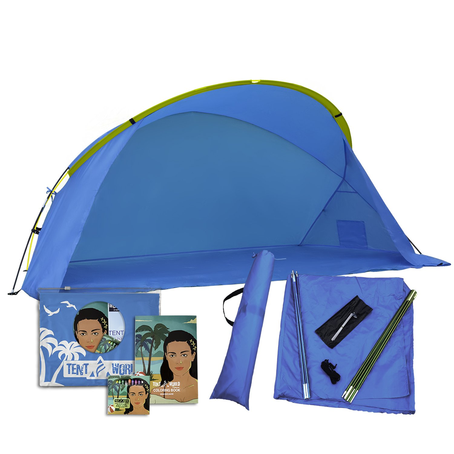 Easiest Beach Tent, Sun Shade Canopy 'Venus': Provide UV Protection for Your Family. Waterproof Shelters For Rain & Pacific Breeze, Easy Up Canopies, Sports Cabana Tents, Roadtrip Sunshade Shack. Blue
