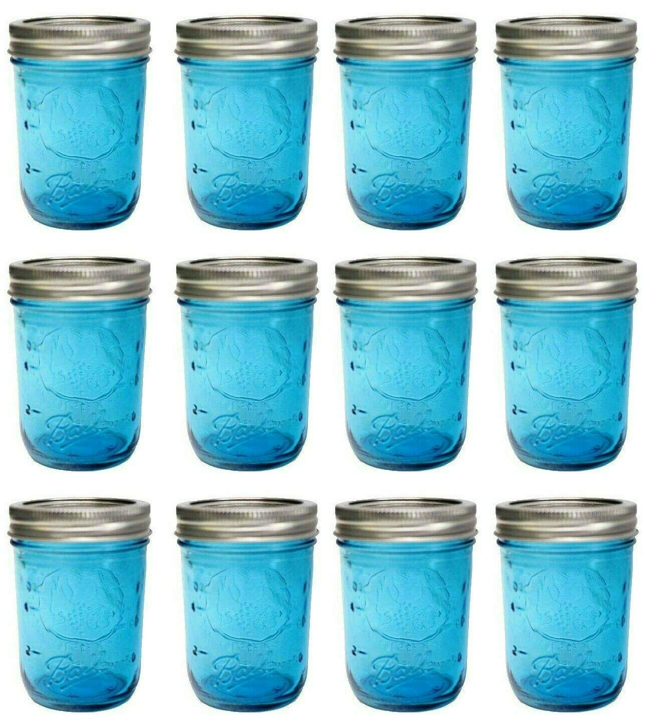 Ball Mason Jar-32 oz. Aqua Blue Glass Ball Collection Elite Color Series Wide Mouth-Set of 12 Jars