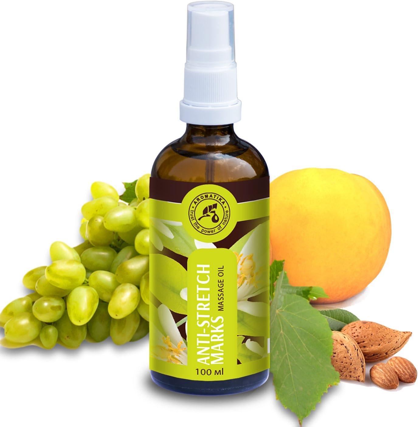 Aceite de Masaje Anti estrías 100ml - Aceite de Jojoba - Aceite de Almendra y Aceite de Mandarina - Cosméticos Naturales - para Estrías - Marcas del Embarazo con Maravilloso Aroma