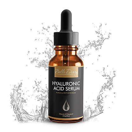 Serum de Ácido Hialurónico 1oz - Crema Orgánica Hidratante Facial Antienvejecimiento con Vitamina C y Vitamina