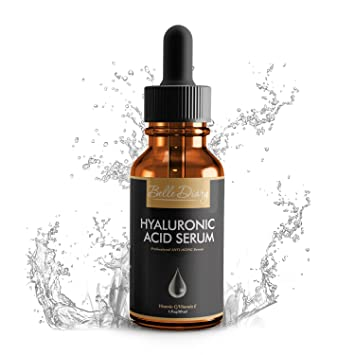 Serum de Ácido Hialurónico 1oz - Crema Orgánica Hidratante Facial Antienvejecimiento con Vitamina C y Vitamina E para Piel Seca, Líneas Finas y Arrugas: ...